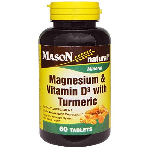 Mason Natural Magnesium - Mason Naturals, Magnesium & Vitamin D3 with Turmeric, 60 Tablets - 2PC