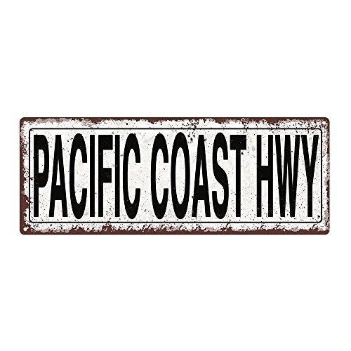 Pacific Coast Highway Metal Street Sign, Rustic, Vintage