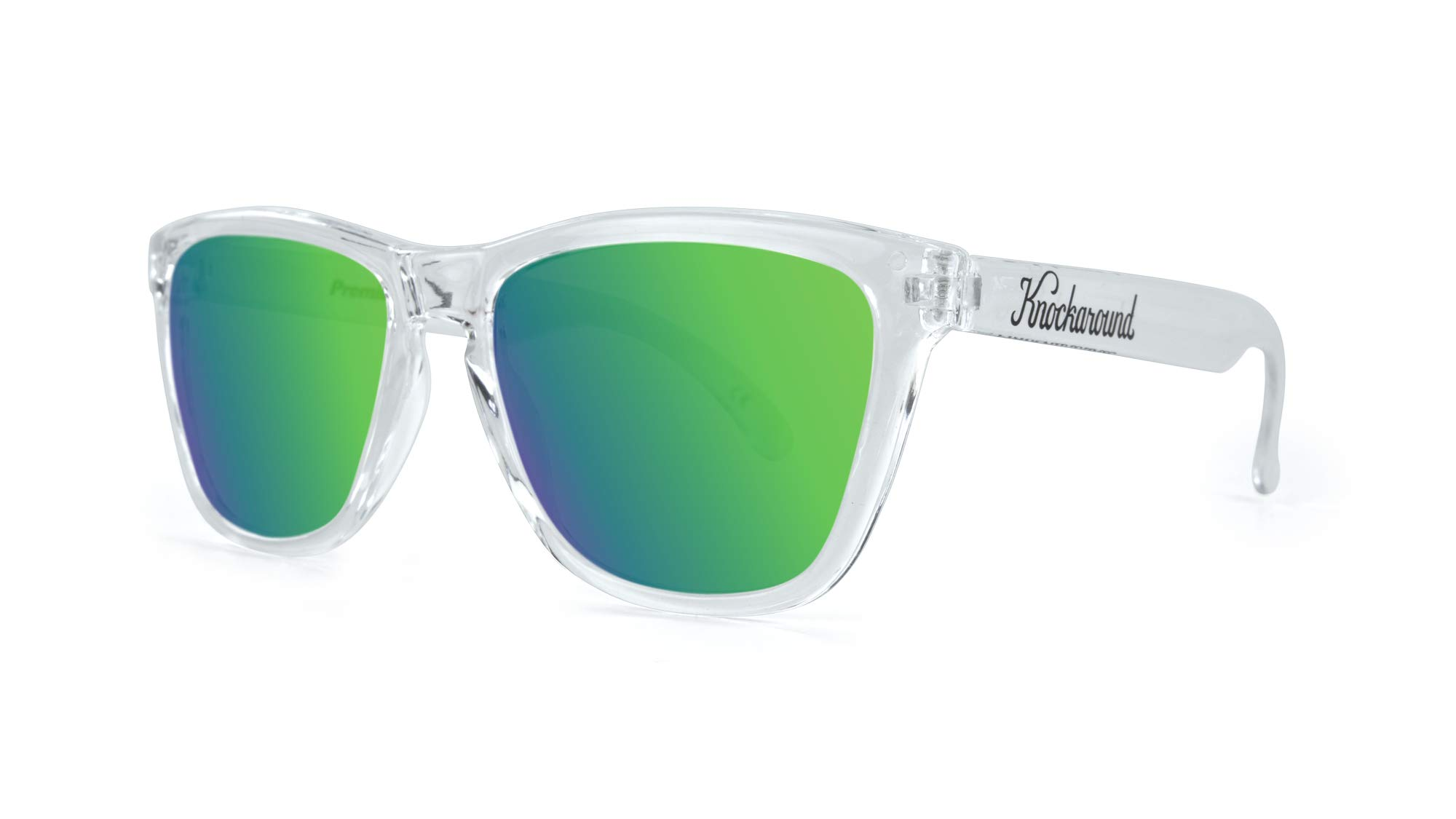 4052e8cdc Knockaround Classics Polarized Sunglasses With Clear Frames/Green  Reflective Lenses