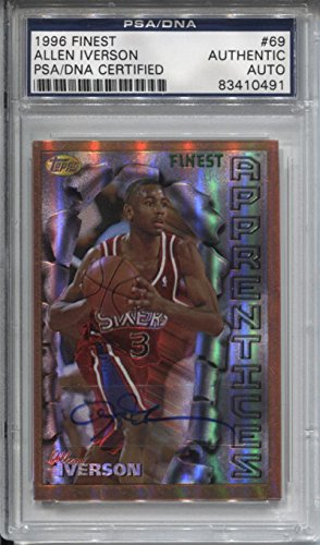 Allen Iverson Signed 1996-97 Finest Refractors Rookie Encapsulated - PSA/DNA Certified - Basketball Slabbed Autographed Cards (Finest 1996 Refractor)