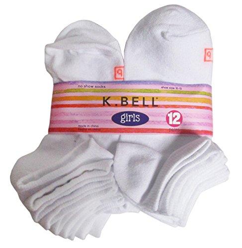 K Bell Girl's 12 Pairs No Show Socks (White, 10-13) by K. Bell Socks (Image #1)