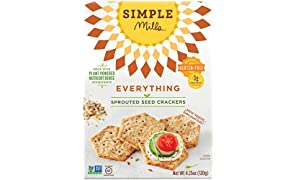 Simple Mills Sprouted Seed Crackers, Everything, Naturally Gluten Free, 4.25 oz