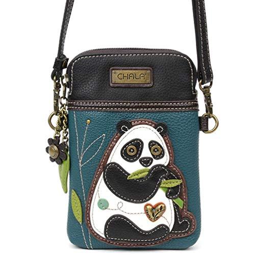 Panda Gift (Chala Crossbody Cell Phone Purse - Women PU Leather Multicolor Handbag with Adjustable Strap - NewPanda Turquoise)