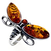 Honey Amber and Sterling Silver Dragonfly Ring Sizes 5,6,7,8,9,10,11,12 from Ian and Valeri Co.
