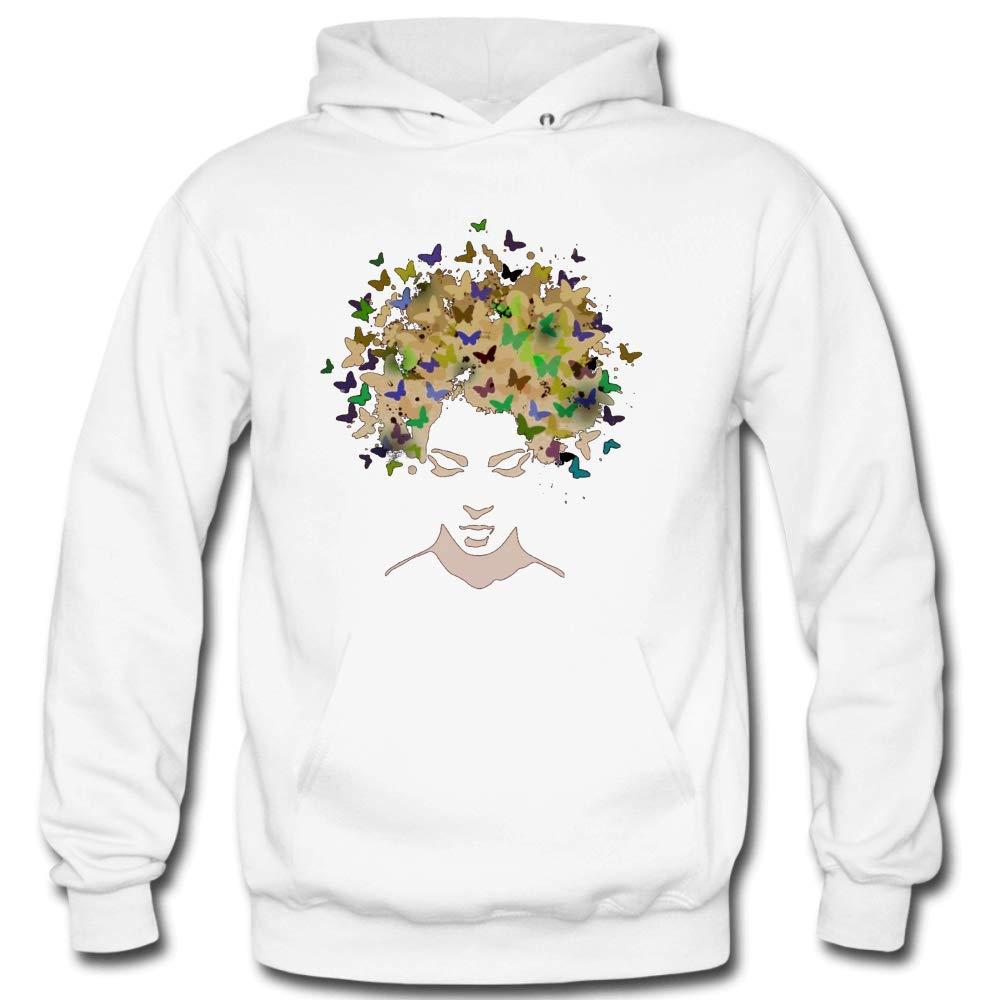 Personality Hair of Butterflies Cool Long Sleeve White Hooded Sweatshirt Creative