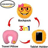 3 in 1 Emoji Pillow Lady Nerd Cute Girl Face iPad Holder Backpack Travel Neck Pillow Smiley Emoticon Cushion Stuffed Soft Plush Toy