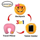3 in 1 Lady Nerd Emoji Pillow iPad Holder Backpack Travel Neck Pillow Smiley Emoticon Cushion Stuffed Soft Plush Toy (3in1 LADY NERD)