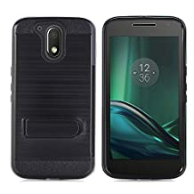 Moto G4 / G4 Plus Case, NOKEA [Card Slot Holder] Dual Layer Shock Absorption Protective with Card Defender Anti-Scratch Soft Rubber Bumper Cover Case for Motorola Moto G4, Moto G4 Plus (Black)