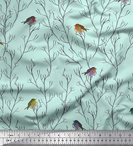 Voile Cotton Green - Soimoi Green Cotton Voile Fabric Branch & Flycatcher Bird Print Fabric by The Yard 56 Inch Wide
