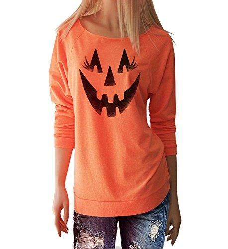 B Themed Costume Idea (Sipring Womens Happy Halloween Gift Pumpkin Shirt Long Sleeve O-Neck Tops Casual Blouse (M, Orange B))