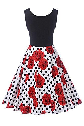YACUN Damen Ist Jahrgang Floral Ärmellose Kleid Cocktail Swing Kleid ...