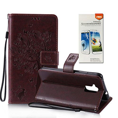 OuDu Funda Huawei Honor 5C Carcasa de Billetera Funda PU Cuero para Huawei Honor 5C Carcasa Suave Protectora con Correas de Teléfono Funda Arbol Flip Wallet Case Cover Bumper Carcasa Flexible Ligero U