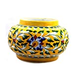 Ceramic Flower Vase Pot Home Planter Handmade Decorated Blue Pottery Art Flower Work Designer Flower Vase Pot Best Authentic Eco-Friendly Gift for Home, Office, Desk Table Decor - Qty1 Yellow
