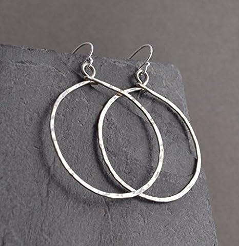 Handmade Hammered Large Sterling Hoop Earrings - Hammered Round Hoop
