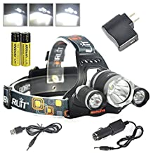 BORUIT RJ-3000 6000 Lumens Bright Headlight Headlamp Flashlight Torch CREE XM-L2 + 2 XPG LED with Rechargeable Batteries & Wall Charger for Hiking Camping Riding Fishing Running Hunting