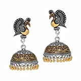 Jaipur Mart Indian Bollywood Traditional Ethnic Look Dancing Peacock Inspired Silver & Gold Tone Oxidised Jhumka Earrings Gift For Women