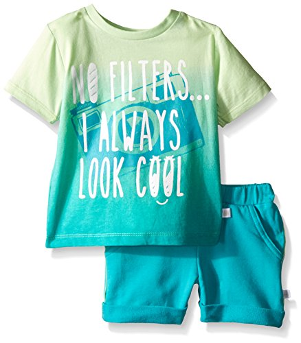 Rosie Pope Little Boys 2 Piece Ombre Graphic Tee with Heathered French Terry Short Set, Pantina Green, 12 Months