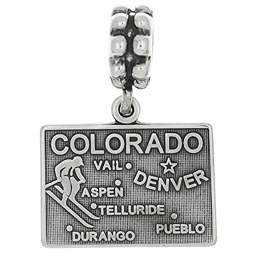 Sterling Silver Oxidized Dangling Silver State of Colorado European Bead Charm