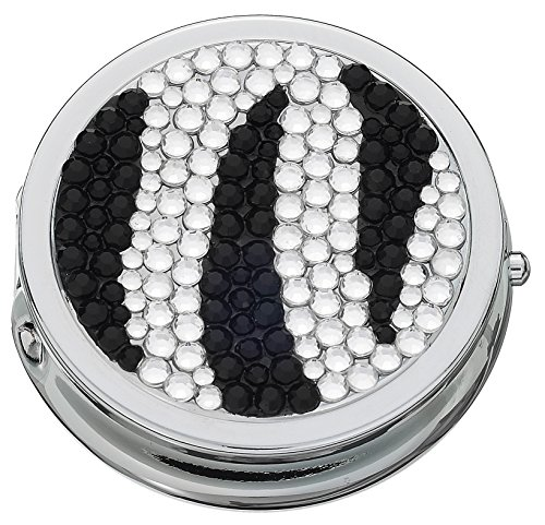 Bejeweled Pill Box with Compact Mirror and 3 Compartments (Black/White)