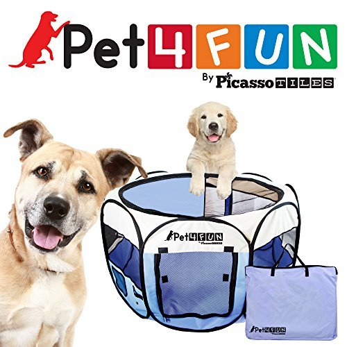 PET4FUN PN945 Medium 43″ Portable Pet Puppy Dog Cat Animal Playpen Yard Crates Kennel w/ Premium 600D Oxford Cloth, Tool-Free Setup, Carry Bag, Removable Security Mesh Cover/Shade, 2 Storage Pockets