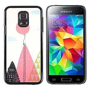 FECELL CITY // Duro Aluminio Pegatina PC Caso decorativo Funda Carcasa de Protección para Samsung Galaxy S5 Mini, SM-G800, NOT S5 REGULAR! // Balloon Ladder Hope Inspiring Pink Polygon