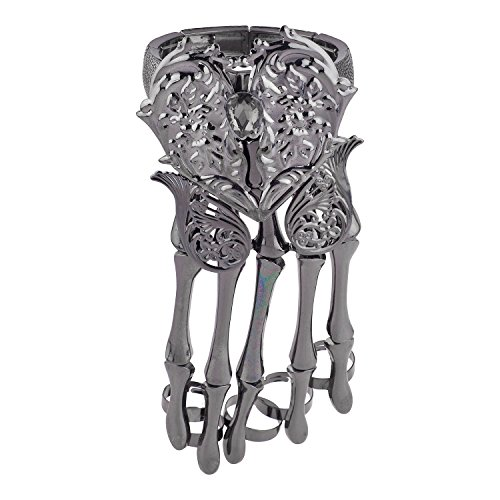 Lux Accessories Black Hem Dark Heart Angel Wings FullHand Skeleton Bracelet -