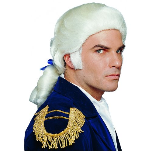 Duke Wig with Bow Adult Costume Accessory White One Size