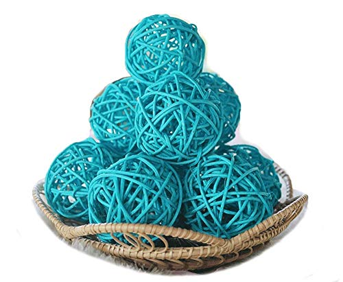 (Thailand's Gifts : Small Light Blue Rattan Ball, Wicker Balls, DIY Vase and Bowl Filler Ornament, Decorative Spheres Balls, Perfect for Decoration and Party 2.5 inch, 12 Pcs.)