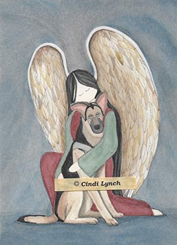 Lynch German Shepherd and Angel Folk Art Print