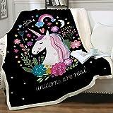 "Sleepwish Cute Unicorn Blanket Girls Cartoon Unicorn with Flowers Fleece Blanket Black Sherpa Blanket for Kids Childrens Adults Fuzzy Blankets Gifts (Throw 50""x60"")"