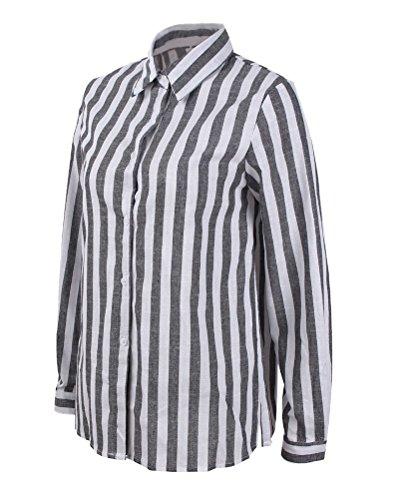 Blouse Shirt V lgant Et Lache Tops Chic Hauts Gris Chemisier Col Casual Minetom Verticale T OL Femme Longues Rayure Manches Boutons wZnqXn7U8