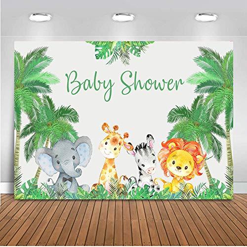 COMOPHOTO Newborn Baby Shower Photo Background Safari Jungle Theme Party Decoration Banner Animals Elephant Backgrounds for Photo Studio 8x6ft Medium Fabric -