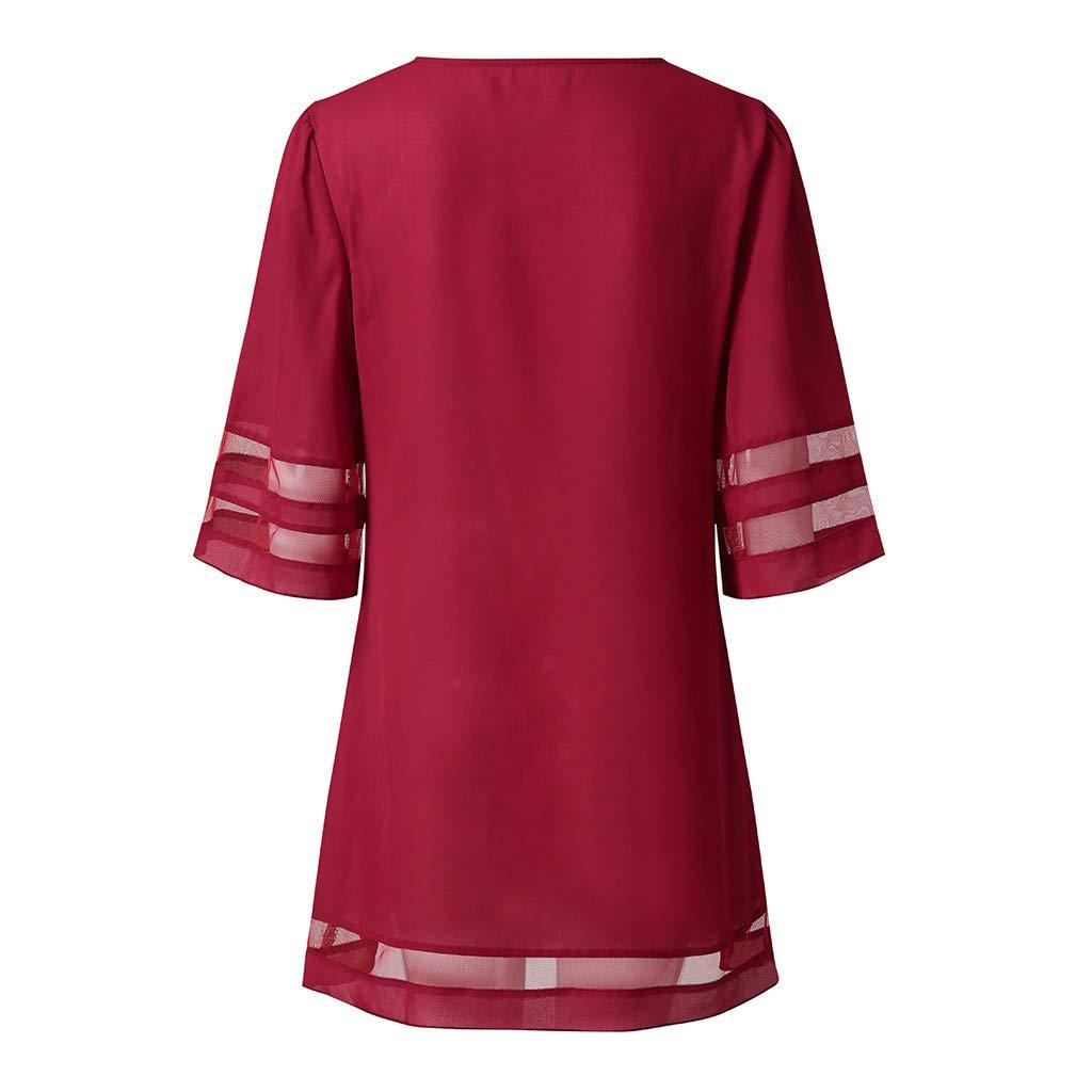 Toamen Womens Summer Casual T-Shirt Dress Sale O Neck Mesh Panel Blouse 3//4 Bell Sleeve Loose Top Shirt Mini Dresses