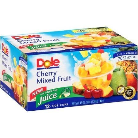 Dole Cherry Mixed Fruit Fruit Cups, 4 Oz, 12 Count by Dole