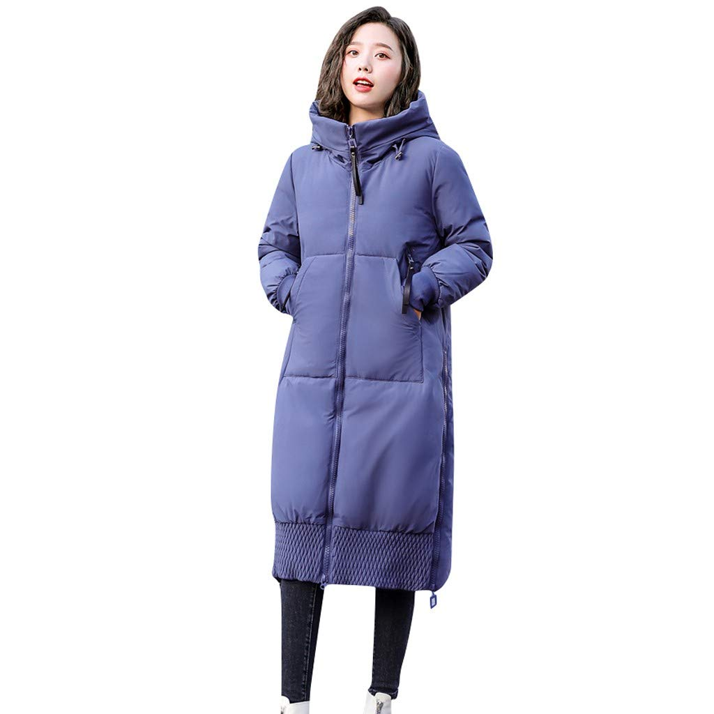 Pandaie Women Winter Jacket Long Trench Coat Parka Jacket Warm Fur Hooded Down Quilted Jacket Blue by Pandaie