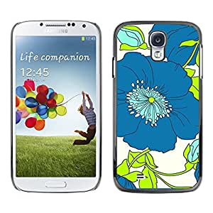 Paccase / SLIM PC / Aliminium Casa Carcasa Funda Case Cover para - Green Flower Floral White Drawing - Samsung Galaxy S4 I9500