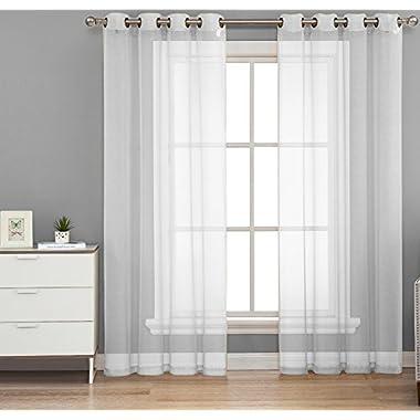 HLC.ME 2 Piece Sheer Window Curtain Grommet Panels, total width 108  x 84  (274 cm x 213 cm) (White)
