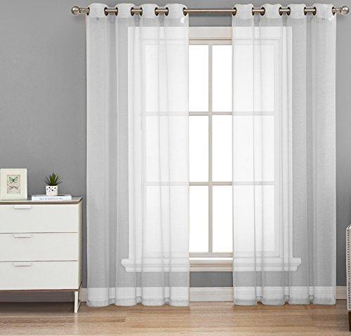 HLC.ME 2 Piece Sheer Window Curtain Grommet Panels, total width 108