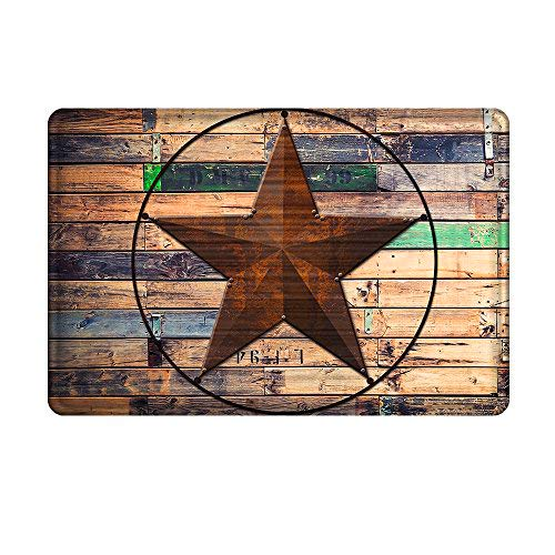 - Uphome Rustic Barn Star Bathroom Rug, Non Slip Coral Velvet Foam Bath Mat with Design Retro Western Texas Star on Brown Wooden Grain Shower Mat Kitchen Rug, 20x32