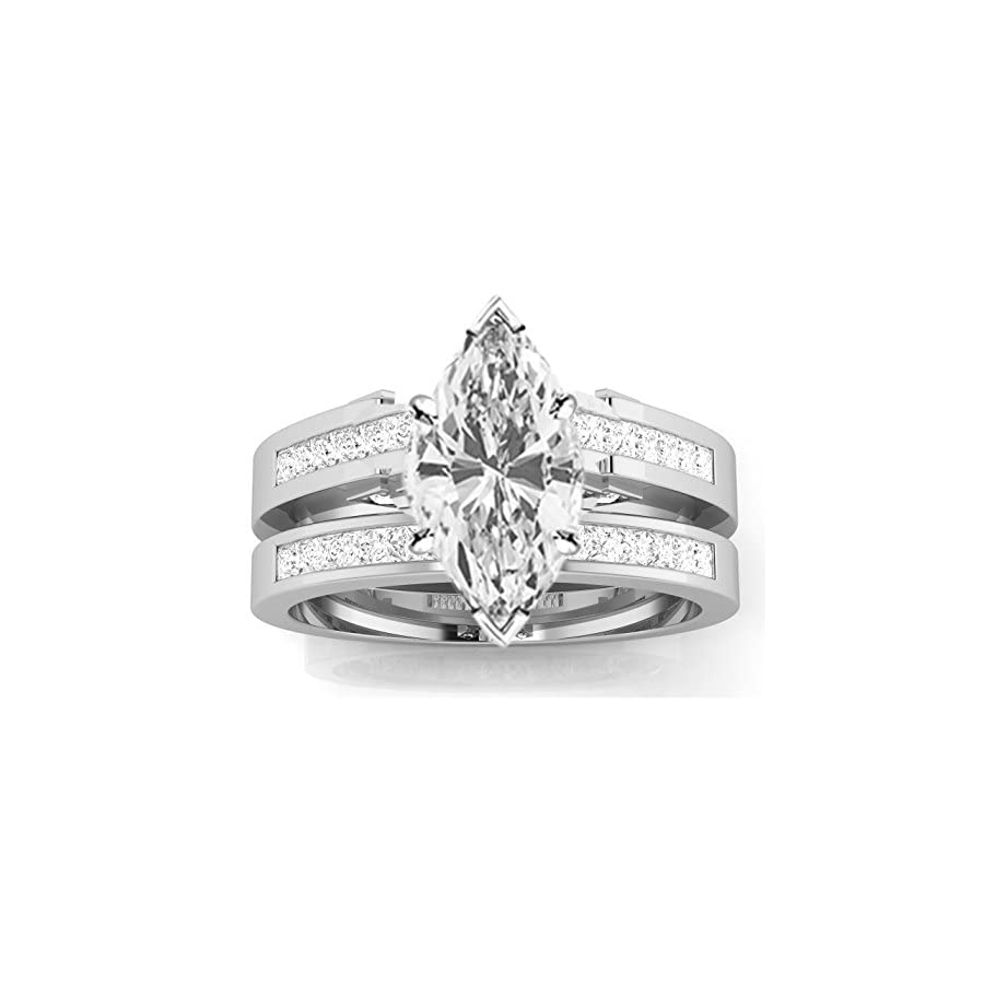 Houston Diamond District 1.45 Carat t.w. 14k White Gold Channel Set Princess Cut Diamond Engagement Ring with a 1 Ct Forever Classic Marquise Moissanite Center