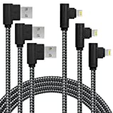 3 Pack 10FT/3M [The Most Durable Cable] 90 Degree Charging Cable Extra Long Nylon Braided Certified Cable Compatible with iPhone Xs Max/XS/XR/X, 8 7 6 6S 6 Plus, iPad, iPod (Black Gray, 10FT)