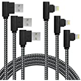3 Pack 10FT/3M [The Most Durable Cable] 90 Degree Charging Cable Extra Long Nylon Braided Certified Cable Compatible with iPhone X/8/8 P/7/7 Plus/6/6 Plus/6s/6s Plus/5/5s/5c/se (Black Gray, 10FT)