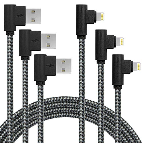 3 Pack 6FT Extra Long Fast Charger Cable 90 Degree Nylon Braided iPhone USB Charging & Syncing Cord Compatible with iPhone Charger X/8/8Plus/7/7Plus/6S/6S Plus/SE/iPad (6ft, Black Gray)