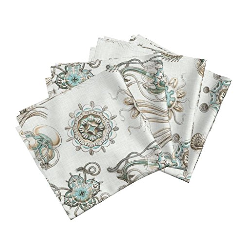 Roostery Home Decor Haeckel Lithograph Jellyfish Sea Creatures Ocean Linen Cotton Dinner Napkins Sea Creatures On Linen by Willowlanetextiles Set of 4 Dinner Napkins