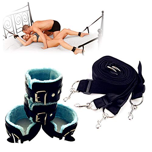 Iuvolux Premium Under the Bed Restraints Kits - Medical Grade Strap with Soft Furry Comfortable Wrist and Ankle Straps Blue & Black by Iuvolux