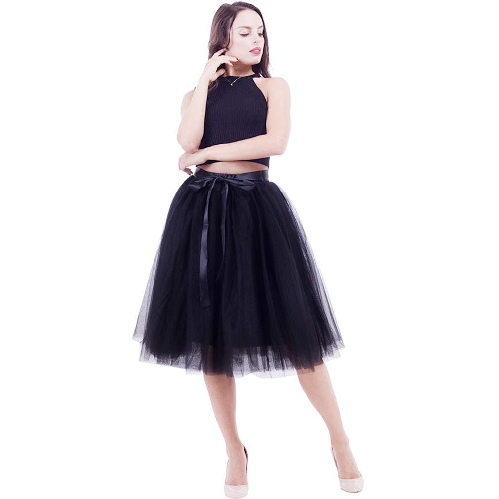 NREALY Skirt Womens Solid Mesh Tulle Skirt Princess Skirt Mesh Bubble Skirt Party Skirt
