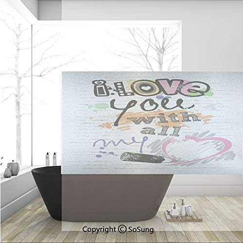 3D Decorative Privacy Window Films,I Love You with All My Heart Grunge Sketchy Notebook Style Childish Couples Decorative,No-Glue Self Static Cling Glass Film for Home Bedroom Bathroom Kitchen Office
