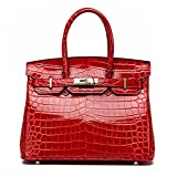 MACTON® Genuine Leather bag Crocodile top-handle bag MC-8001 (30CM, Red)
