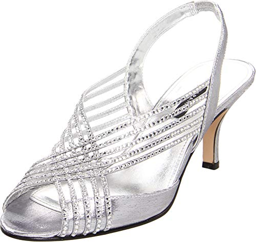 Caparros Twilght Womens Size 6 Silver Slingbacks Heels Shoes