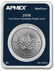 2018 CA Canada 1 oz Silver Maple Leaf (MintDirect® Single) 1 OZ Brilliant Uncirculated